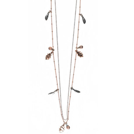 Hultquist Jewellery Silver and Rose Gold Oak Leaf Long Necklace