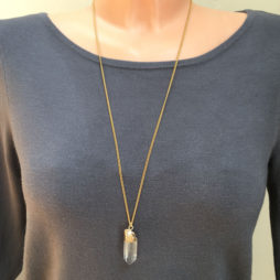 Hultquist Long Gold Necklace with Semi Precious Crystal Stone Pendant
