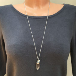 Hultquist Long Silver Necklace with Semi Precious Crystal Stone Pendant