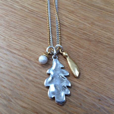 Hultquist Jewellery Bi Colour Oak Leaf Necklace