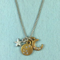 Hultquist Jewellery Bi Colour Star and Moon Necklace