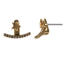 Hultquist Gold Star Double Earstud Earring with Crystals