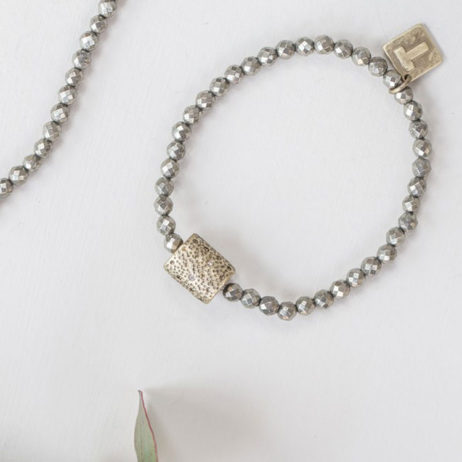 Tutti and Co Gold Pyrite Bracelet with Crystal Connector
