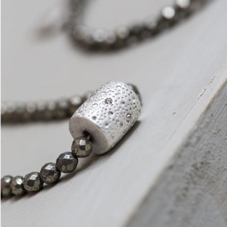 Tutti and Co Silver Pyrite Bracelet with Crystal Connector