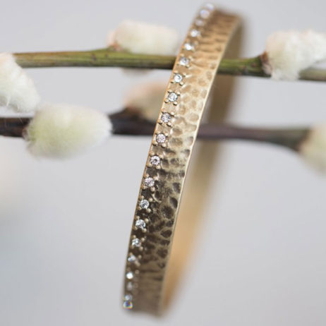 Tutti and Co Gold Bangle with Crystal Edge