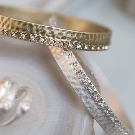 Tutti and Co Silver Bangle with Crystal Edge