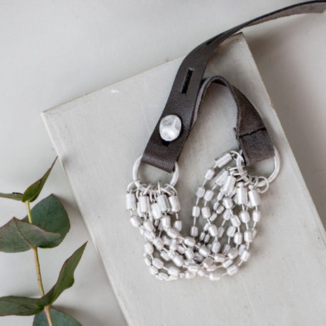 Tutti and Co Silver Leather Multi Bracelet