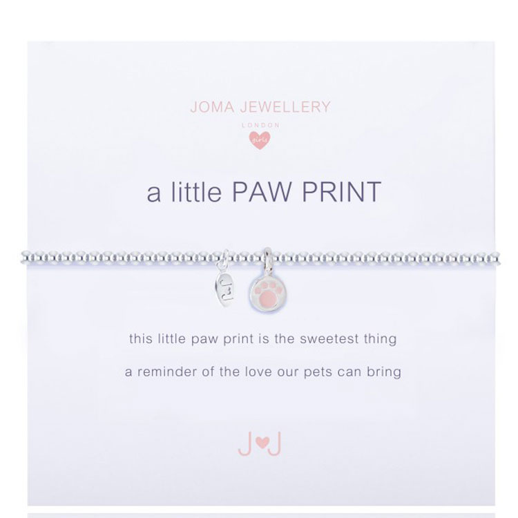 Joma Jewellery Girls A Little Paw Print Silver Bracelet