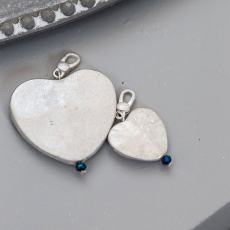 Tutti and Co Large Silver Heart Charm - Blue Glass