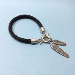 Danon Jewellery Silver Feather Leather Bracelet