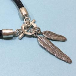 Danon Jewellery Silver Feather Leather Bracelet Close Up