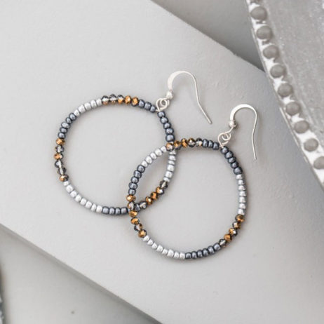 Tutti and Co Silver Mixed Bead Hoop Earrings