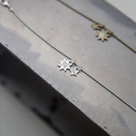 Tutti and Co Double Silver Star Chain Bracelet