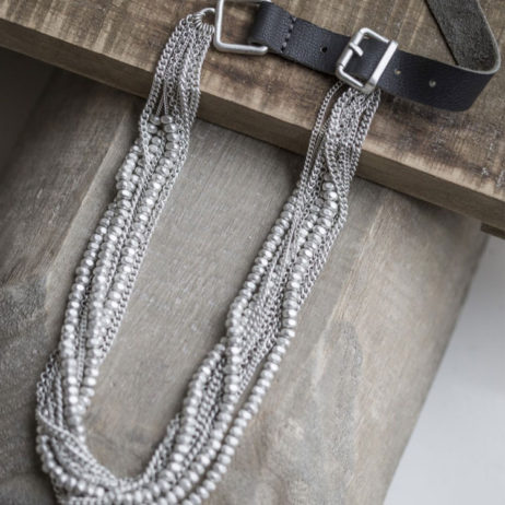 Tutti and Co Short Silver Statement Necklace with Grey Leather
