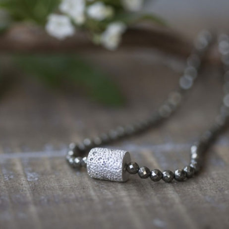 Tutti and Co Short Silver Pyrite Necklace with Crystal Connector