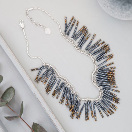 Tutti and Co Silver Mixed Bead Bar Necklace