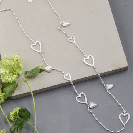 Tutti and Co Jewellery Silver Multi Hearts Necklace
