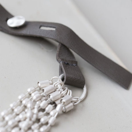 Tutti and Co Short Silver Multi Chain and Leather Necklace