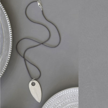 Tutti and Co Silver and Suede Teardrop Necklace
