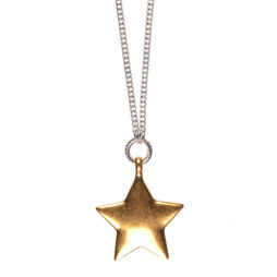 Hultquist Long Silver Necklace with Gold Star Pendant