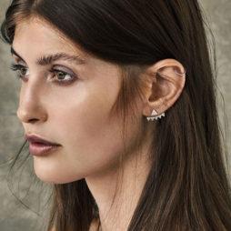 Hultquist Jewellery Silver Triangle Stud Ear Cuff Earrings