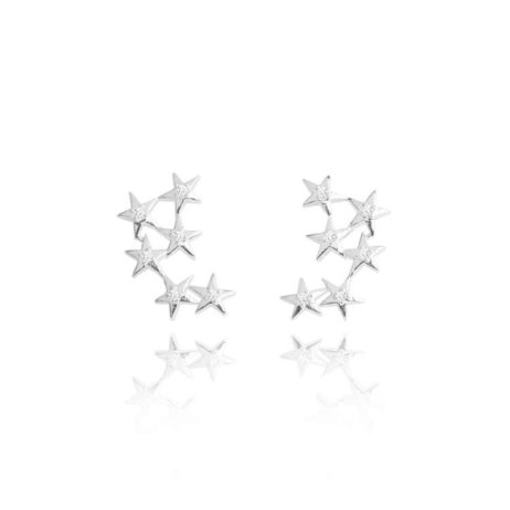 Joma Jewellery Astrid Crystal Star Silver Earrings 1764