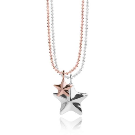 Joma Jewellery Issy Facetted Star Charms Silver Rose Gold Necklace