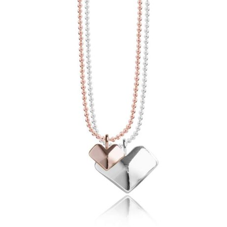Joma Jewellery Macie Facetted Heart Charms Necklace