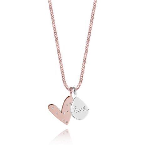 Joma Jewellery Rose Gold Lifes a Charm Hearts Necklace 1791 - EOL