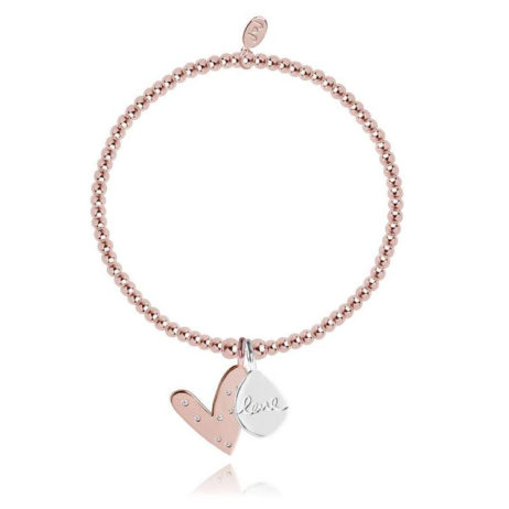 Joma Jewellery Rose Gold Lifes a Charm Hearts Bracelet 1792
