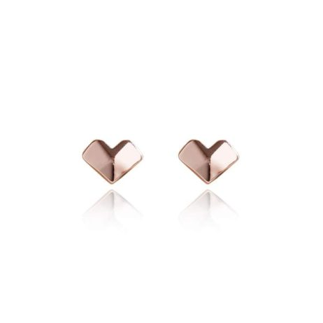 Joma Jewellery Macie Facetted Heart Rose Gold Earrings 1843