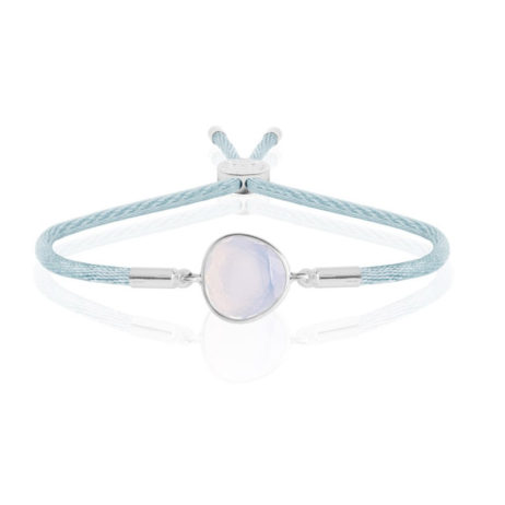Joma Jewellery LACIA Silver Friendship Bracelet with Blue Thread