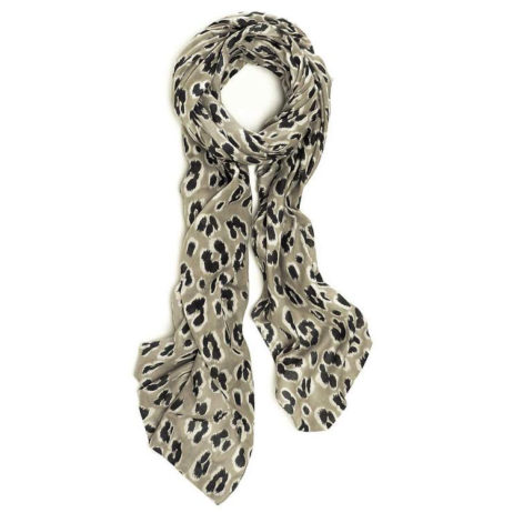 Hot Tomato Noir Putty Leopard Cotton Scarf