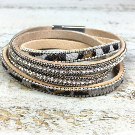 Hot Tomato Jewellery Grey Silver Animal Print Wrap Bracelet