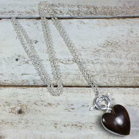 Hot Tomato Jewellery Cocoa Heart Silver Necklace