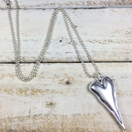 Hot Tomato Jewellery Large Silver Heart Necklace