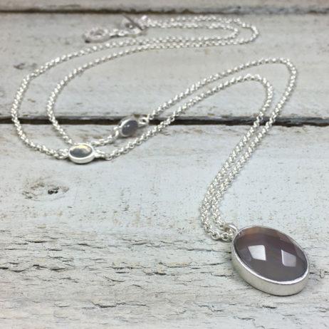 Sence Copenhagen Symphony Grey Agate Silver Necklace