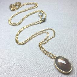Sence Copenhagen Symphony of Stones Grey Agate Gold Necklace