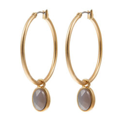 Sence Copenhagen Grey Agate Gold Hoop Earrings