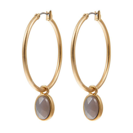 Sence Copenhagen Symphony of Stones Grey Agate Gold Earrings
