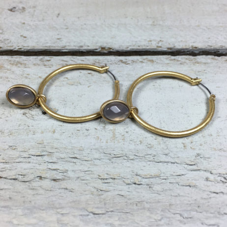 Sence Copenhagen Grey Agate Gold Hoop Earrings