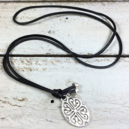 Sence Copenhagen Silver Rooftop View Black Leather Necklace