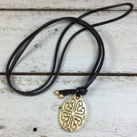 Sence Copenhagen Gold Rooftop View Black Leather Necklace