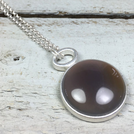 Sence Copenhagen Silver High Sky Grey Agate Necklace