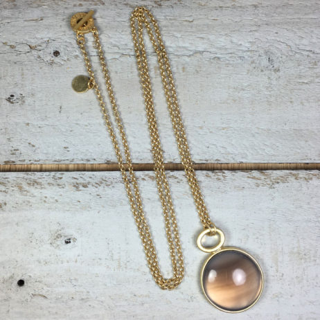 Sence Copenhagen Gold High Sky Grey Agate Necklace