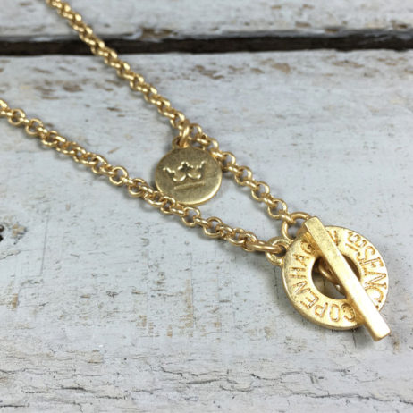 Sence Copenhagen Gold High Sky Grey Agate Necklace