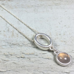 Sence Copenhagen High Sky Grey Agate Silver Necklace