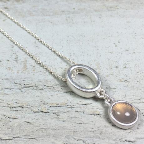 Sence Copenhagen High Sky Grey Agate Silver Necklace