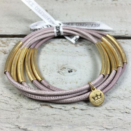 Sence Copenhagen Urban Gipsy Dusty Rose Nappa Leather Gold Bracelet