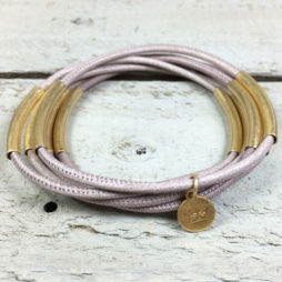 Sence Copenhagen Urban Gipsy Dusty Rose Nappa Leather Gold Bracelet